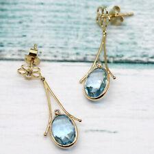 Natural Blue Topaz Diamond Dangle Drop 18k Yellow Gold Fine Earrings