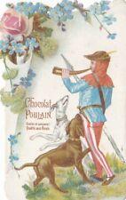 Chromo Découpis Chocolat Poulain - Chasse à courre, Chiens, Fleurs - TBE