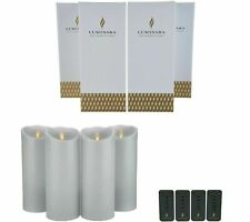 "Luminara Flameless Candles 9"" Set of Four- Grey with Remote"