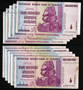 100/% GENUINE TRILLIONS IN STORE 2008 AA SERIES ONLY 4X ZIMBABWE 500 MILLION