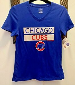 Chicago Cubs Girls Glitter Logo Blue V-neck Fitted Shirt NWT Free Shipping!