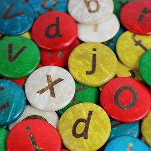 52 COCONUT Shell Lowercase Alphabet discs - 35mm coloured  Spell Craft Children