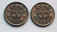 Lot of 2 1974 & 1985 PORTUGAL Coins - 2-1/2 Escudos (2$50) - UNC