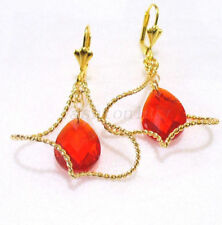 Crystal Yellow Gold Pear Drop/Dangle Costume Earrings