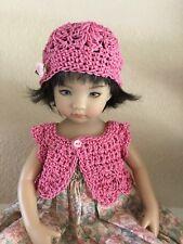 "Hand Crochet Rose Sweater & Hat~Effner Darling ~ 13"" Dolls"