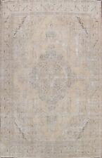 Antique Muted Tebriz Handmade Distressed Area Rug Evenly Low Pile Carpet 10'x13'