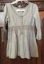 Abercrombie  Girls Long Sleeves Striped Henley Shirt - Gray / Brown  - Size S