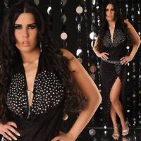 NEW SEXY HALTER NECK EVENING GOWN DRESS SIZE 6, 8, 10 - BLACK/WHITE RHINESTONES