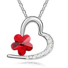 Elegant & Stylish Silver Red Flower Heart Shiny Pendant Necklace N246