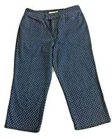 Chico's Platinum Sz 1 Dodds O Capri Denim & White Dots Capri Pants Women's Sz 8