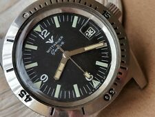 Vintage Wittnauer Geneve 4000 Divers Watch w/Warm Patina,All SS Case,Runs Strong