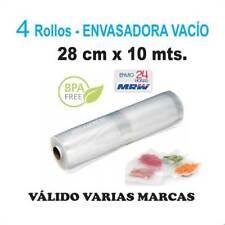 4 Rollos gofrados para envasadora vacío de 28cm x 10m. Para Varias marcas