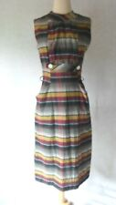 1950's Vintage Nubby Cotton Plaid Hourglass Pin Up Bombshell Wiggle Pencil Dress