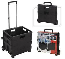 Large Wheeled Folding Shopping Cart Trolley Crate 18KG Capacity Folds Flat