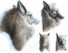 Latex Animal Wolf Head With Hair Mask Fancy Dress Costume Scary Halloween TOP