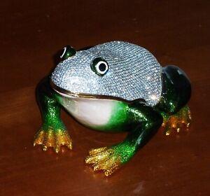 Extra large brand new Rucinni frog trinket box figurine with Swarovski crystals