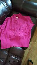 Vintage Liz Claiborne Fuchsia Angora Lambswool CableKnit Sweater S