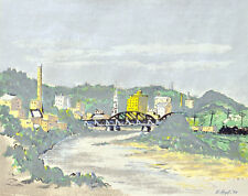 Silk Screen - Cityscape with Bridge & Train - E. Hopf 1948 - Mid Century
