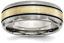Titanium Grooved w/ 14K Yellow Gold Inlay 8mm Brushed and Antiqued Band Ring