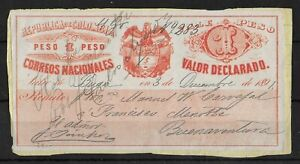 COLOMBIA 1890 Used on Paper Insured Letter Stamps 1 P Red Michel 329