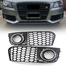 Chrome Ring Honeycomb Fog Light Cover Grille For Audi A4 B8 2009-2011 Grills AS