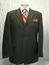 Mens unbranded brown 3 button pinstripe suit sz 43R