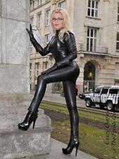 Pantalon Cuir Pantalon en Cuir Noir Moulante Leggings US 10 M 40