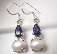 Cultured Pearl and Faceted Iolite Teardrop 925 Sterling Silver Dangle Earrings