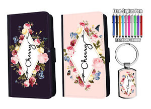 PERSONALISED Name Leather Floral Wallet Case for iPhone Samsung Huawei + Keyring