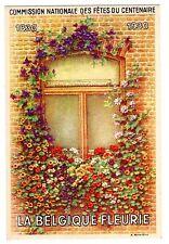 POSTCARD BELGIAN 1930 CENTENARY FLOWERS AT WINDOW SIGNED GOOSSENS