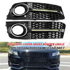 Glossy Fog Light Cover Front Bumper Grille Fit For Audi A4 B8  09-11