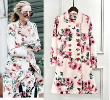 Pink Floral Colorful Diamond Button Coat Jacket Runway Occident 96n