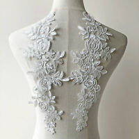1 Pair Corded Embroideried Appliques Patch Blossom Lace Applique for Costumes