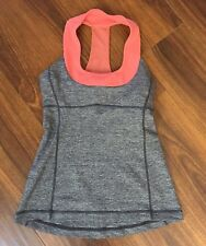 Lululemon Size 2 Scoop Neck Tank Top Racerback Bra Coral & Gray Workout