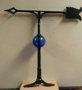 lightning rod/decorative spire/24'' arrow 4.5'' blue glass ball,adjustable mount