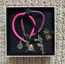 Nwt Juicy Couture Pink Black Woven Charm 3 Set Bracelets