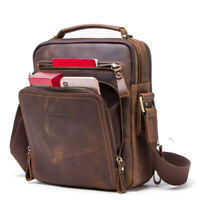 Men's Genuine Cow Leather Handbag Briefcase Tote Laptop Shoulder Messenger Bag