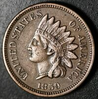 1859 INDIAN HEAD CENT - With LIBERTY & DIAMONDS - XF EF