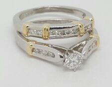 Platinum 900 Round Diamond Engagement Ring and Matching Wedding Band Size 5.5