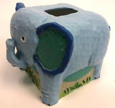 Jenny & Jeff Resin Blue Elephant Kid Children Room Kleenex Face Tissue Box Cover
