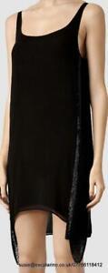 All Saints Acalia Chain Vest Dress Jet Black Size 12 BNWT £178 LBD Little