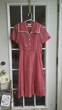 1940s Vintage Pink and White Checked Dress