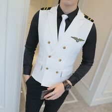 Nightclub Bar Uniform Ktv Mens Double Breasted Air Force Vest Coat Lapel M 5xl