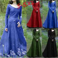 Women Lady Vintage Renaissance Long Sleeve Bandage Long Party Dress Plus Size