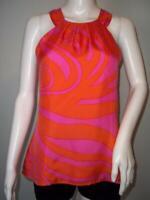 Skirtin Around Sz 4 100% Silk Pink Orange Dressy Halter Blouse