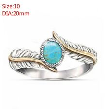 Bohemia Turquoise Feather Ring Jewelry Gift Cocktail Party Wedding Ring Fashion 10
