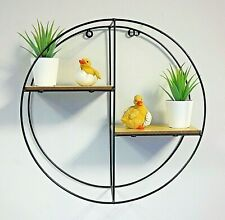 Round Retro Wall Unit Wood Industrial Style Metal Shelf Rack Storage Display