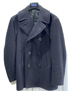 Vintage 1970s US Navy Blue Kersey Peacoat Military Wool Jacket Vietnam Size 42 R