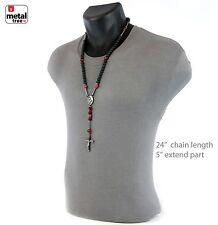 Men's Hip Hop 10 mm Matte Black RED Shamballa Ball Rosary Necklace HR409 HRD