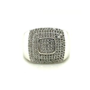 Sterling Silver .925 Men's CZ Ring Hip-Hop Style
